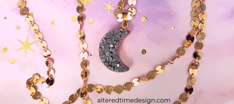 rose gold moon and chain